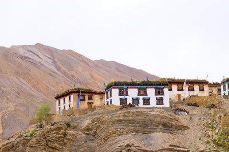 Small Tibetan houses stand on the top of the mountains in the Himalayas Stock fotó