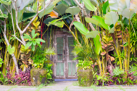 The gate to the house is closed on Nyepi day in Bali. Silence around. The traditional day of silence. Balinese New Year. Stock Photo - 121883509