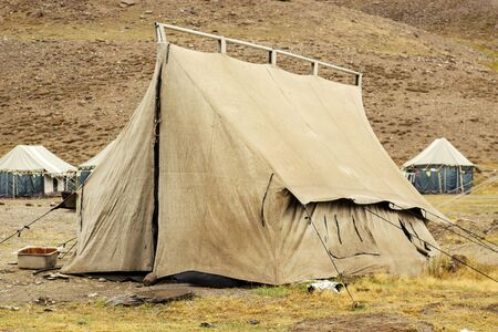 Tent for 4 people in a tent camp in the mountains of the Himalayas in the autumn