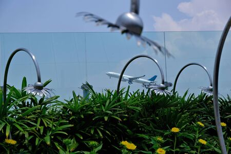 The plane in focus flies up behind the glass at the airport. In the foreground, small sunflowers in green and blurred metal flowers with mounts. The concept of spying on the takeoff of aircraft.