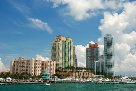 Skyline of Miami on a sunny day photo