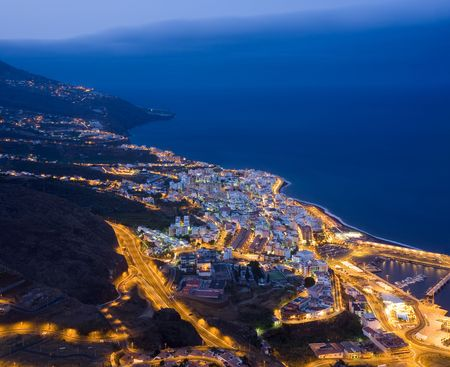 Cityscape by night of Santa Cruz, La Palma, Canary Islands Stock Photo