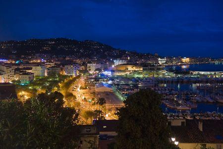 Cannes (Frankrijk) 's nachts Stockfoto