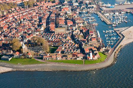 Luchtfoto van Urk, een oud vissersdorp van Nederland
