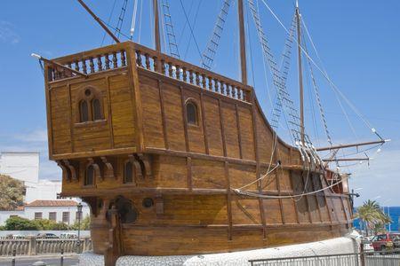 Santa Maria, schip van Columbus in Santa Cruz, de hoofdstad stad van La Palma (Canarische eilanden) Stockfoto