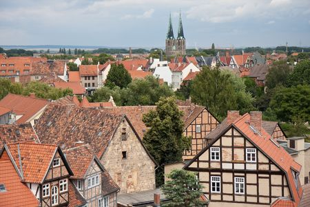 timbered: Cityscape of timbered houses in medieval city Quedlinburg, Germany