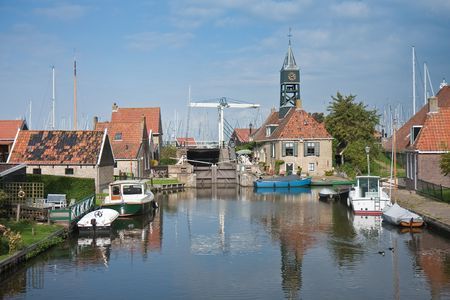 Picturesque seafront from the old Dutch fishing village Hindelopen photo