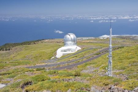 Telescopes above the clouds at the highest peak of La Palma, Canary Islands photo