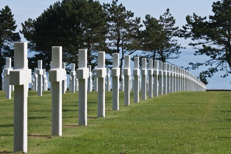 ノルマンディー、フランス アメリカの第二次世界大戦墓地 写真素材