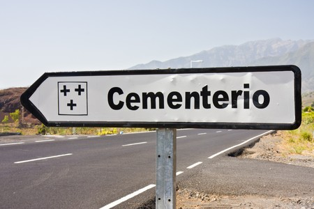 Signpost to cemetery at La Plama, Canary Islands