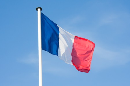 Beautiful French Flag blowing in the wind photo