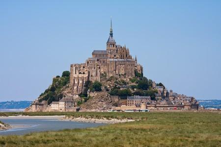 サン モン Michel、ブルターニュ、フランスの中世修道院 写真素材