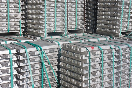 Pile of aluminium bricks waiting for transport to the factory Stock Photo