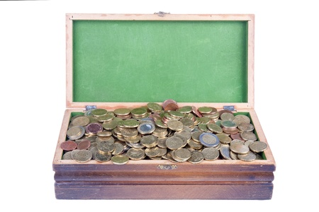 Money chest with lots of european coins photo