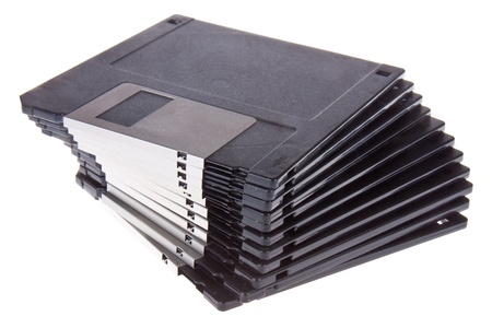 Pile of 3.5 inch computer diskettes photo