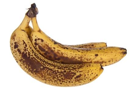 overripe: Over-ripe bananas isolated on white