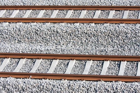 railroad transport: Tracks of a new railway in the netherlands