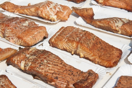 Smoked salmon for sale at a market Stock Photo - 9783032