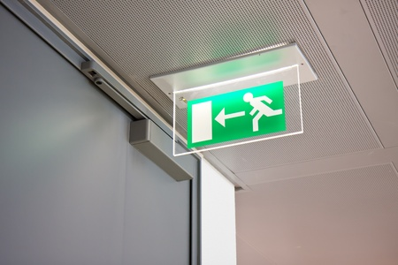 exit: emergency exit sign in a building