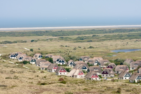 Aerial view of a bungalow park at Ameland, the Netherlands 免版税图像 - 10263314