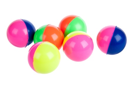 Six colorful rubber balls isolated on white photo