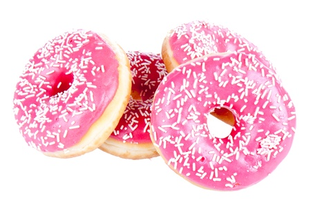 Stack of four donuts isolated on white