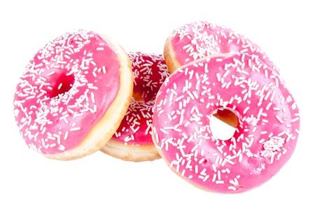 Stapel van vier donuts geïsoleerd op wit Stockfoto - 10685431