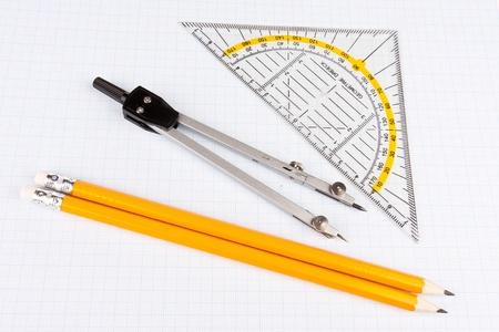 School mathematics tools on squared paper Stock Photo - 10860658
