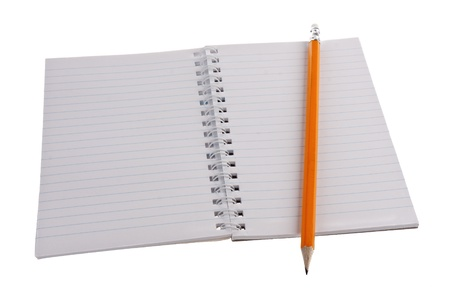 Work book with pencil isolated on white Stock Photo