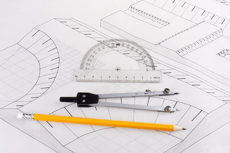 Building plan of a civil construction Stock Photo