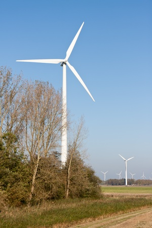 Big windturbines in Dutch rural landscape photo