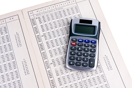 logarithm: Dutch logaritm table with calculator Stock Photo