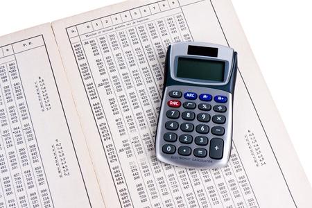 tabular: Dutch logaritm table with calculator Stock Photo