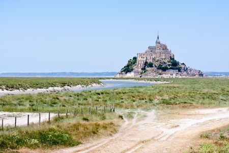 mount saint michael: Saint Mont Michel, medieval abbey in Brittany, France Stock Photo