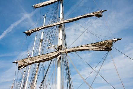 Rigging and masts of a big sailboat photo
