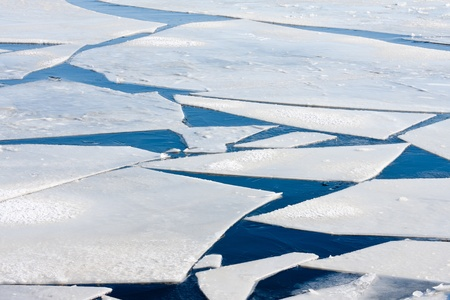 ice floes: Frozen sea with big ice floes
