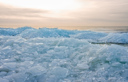 Ice hummocks by sunset in the Netherlands Stock Photo