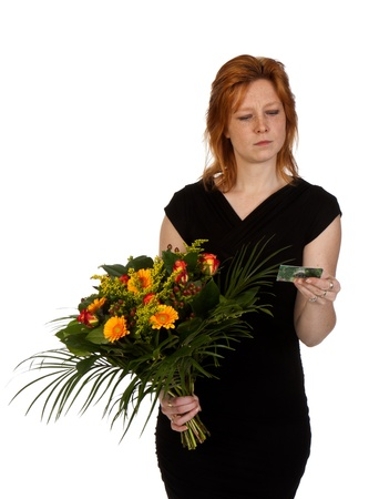 consignor: Woman is wondering who sent her flowers? Isolated on white