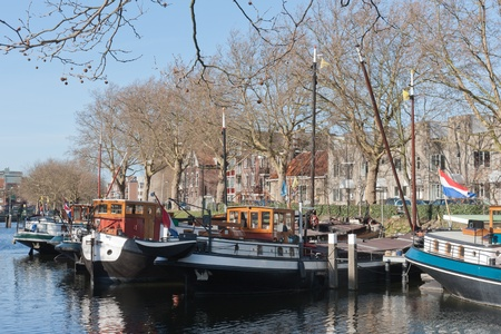 schiedam: Barges in old historic harbor of Schiedam, The Netherlands Stock Photo