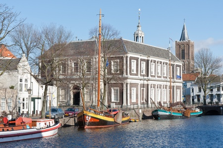 schiedam: Traditional wooden barges in old historic harbor of Schiedam, The Netherlands