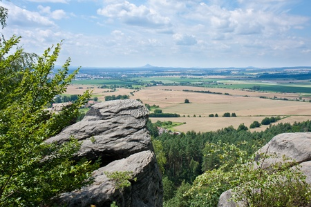 Aerial view at the Czech lowland plain from the rocks of the Bohemian Paradise  Cesky Raj  photo