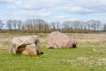 ice age: Megalith stones in the Netherlands.  These stones are transported to the Netherlands in the last ice age. Stock Photo