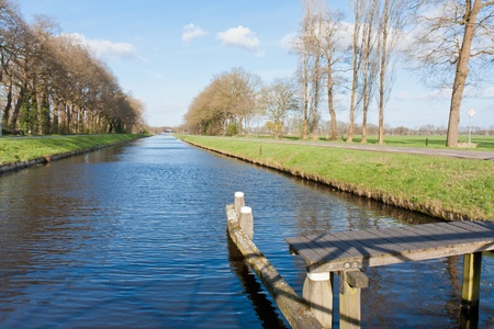 Dutch landscape with pasture and canal photo