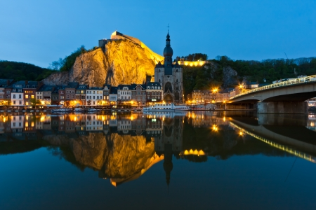 Cityscape of Dinant at the river Meuse, Belgium 免版税图像 - 13647105
