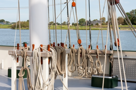 Rigging at the deck of a sailing clipper in Dutch harbor of Kampen