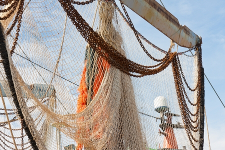 Nets of Dutch fishing cutter hanging out to dry
