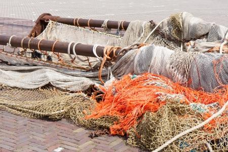 trawl: Beam trawl and nets of a fishing cutter