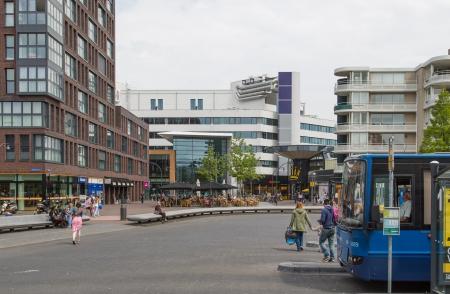lelystad: LELYSTAD, THE NETHERLANDS - JUNE 29: Plaza before the central station of Lelystad Editorial