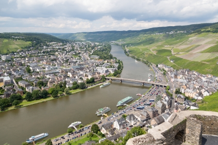 Aerial view of BernKastel-Kues at the river Moselle in Germany photo