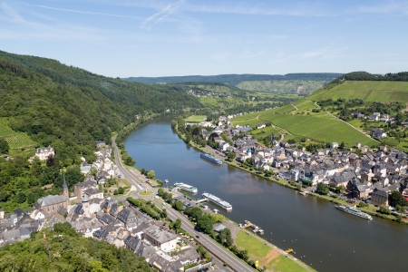 mosel: Aerial view of Traben-Trarbach at the river Moselle in Germany Stock Photo